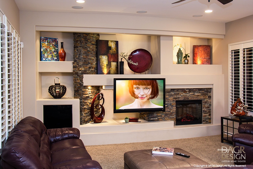 Custom-Drywall-Entertainment-Center-Stone-Accents
