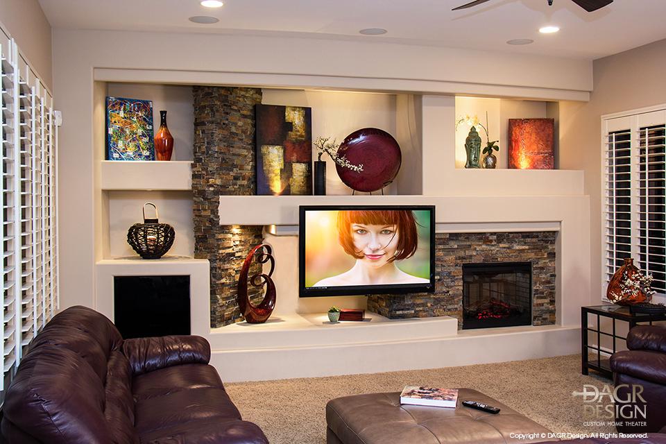 Custom-Drywall-Entertainment-Center-Stone-Accents