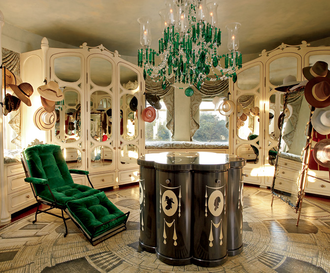 Perfect-Walk-in-Closet-Designs-with-Luxury-Classic-Decoration-with-Beige-Wardrobe-Color-and-Green-Crystal-Ceiling-Light